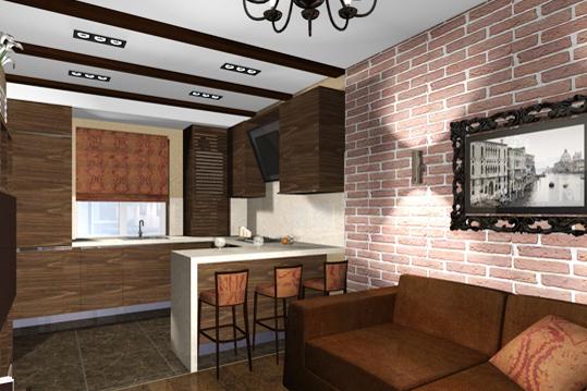 Дизайн малогабаритной кухни гостиной